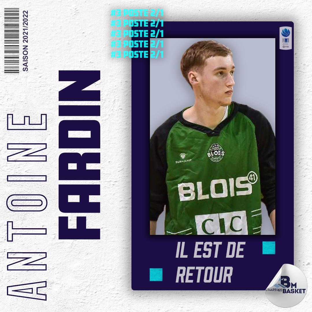 Saison 2021-2022 : Antoine Fardin, un jeune de retour à Chartres