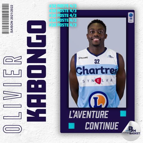 Saison 2021-2022 : Olivier KABONGO continuera son parcours avec l'effectif NM1